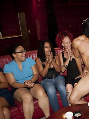 First class blowjobs done by busty babes on a clothed party