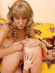 Fantastic lesbian Gapolexa and Malia tease each others asses