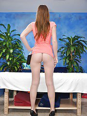 Teen babe Casana undresses her tight skirt before a massage