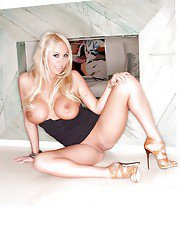 Mary Carey teases her milf big tits in a tight skirt and high heels