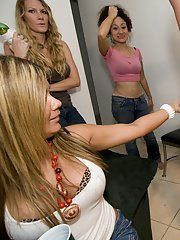 Coed party features clothed babes doing handjob and blowjobs