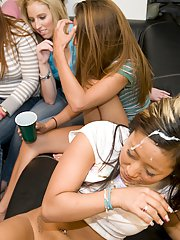Super sweet Asian chicks have lots of fun on a coed groupsex party