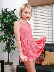 Blonde babe with an tight ass and tiny tits Dakota Skye poses in a skirt