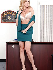 Office milf babe with big tits Brandi Love teases her tight pussy