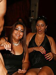 Latina chicks have an amazing time doing blowjobs on a wild party