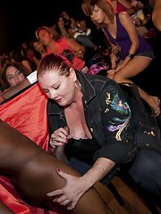Interracial clothed party with wild fatties and sexy stripper