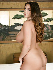 Latina babe Alison Tyler undresses her lingerie and gets ready for massage