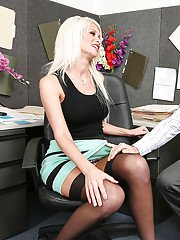 Blonde milf Riley Jenner enjoys an amazing sex in her office