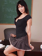 Brunette milf teacher Diana Prince shows off her ass in skirt
