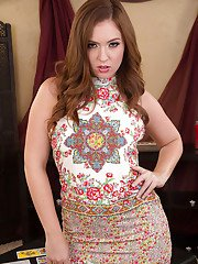 Wife babe Maddy OReilly shows off in high heels and sexy skirt
