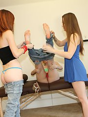 Lesbian chick Monica Rise has her pussy licked out by her girlfriends