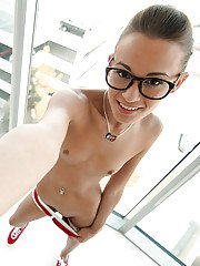 Hot babe in sexy glasses Kacy Lane dose self shots while naked