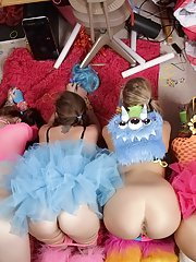 Coed lesbians have a wild party with all of their favorite toys