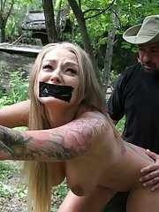 Hardcore BDSM scene with a marvelous big tits girl Kayla Green outdoor