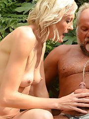 Outdoor hardcore sex with blonde European cutie Kimberley and an oldman