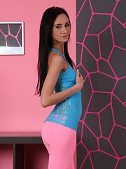 Skinny teen babe with big tits Eveline Neill shows off in yoga pants