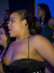 Clothed party with Ebony beauties and white babes doing blowjobs