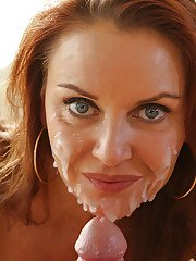 Mature babe Janet Mason receives cum on her cute face after titjob