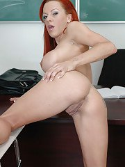 Redhead MILF Shannon works as a teacher that loves to undress
