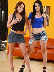 Two brunette chicks Katrina and Kayla are undressing each other
