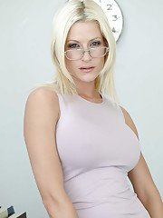 Blonde whore Lauren works as a teacher that loves to wear glasses