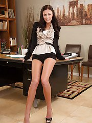 Office slut with big melons Whitney wants to show her tight pussy