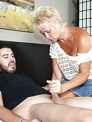 Great blonde bitch giving a very wet and warm handjob to that guy
