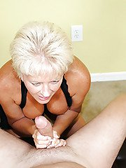 Hardcore blonde MILF loves to give great and warm handjobs