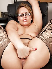 Tight ass and big tits of European milf in glasses Ashley Rider shown in office