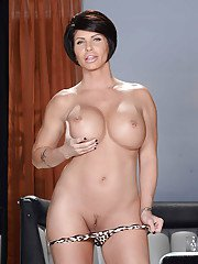 Undressing scene features milf babe with big tits Shay Fox