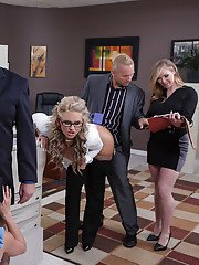 Milf chicks Kendra Lust and Phoenix Marie enjoy big cock in office