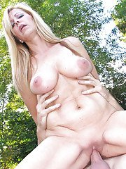 Outdoor blowjob and hardcore fuck features European mature Nicole Moore