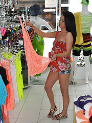 Public undressing action with a brunette babe Alaina Kristar