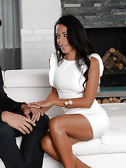 Undressing scene with a brunette Latina chick Layla Sin and her man