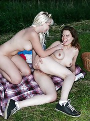 Lesbian teen Radka A has her pussy licked outdoor by her girlfriend