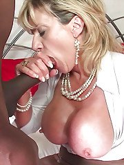 Interracial sex in close up features mature Lady Sonia in stockings