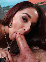 Horny pornstar Sheena Ryder has her milf mouth fucked in close up