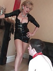 Blonde mature lady with big tits Lady Sonia in a fetish femdom scene