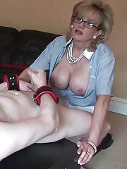 Mature slut with big tits Lady Sonia takes part in a femdom fetish scene