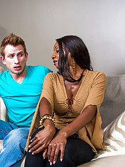 Ebony Diamond Jackson is giving a hot deep blowjob on the couch