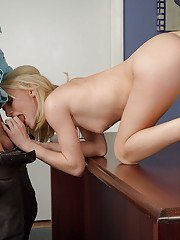 Tiny blonde Sammie Daniels is fucking with her lovely teacher