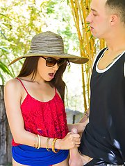 Spicy brunette Ava Mendes was filled with sperm outdoors on the cam