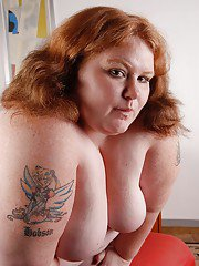 Very fat woman Ruby is getting naked and playing with her wide hole