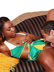 Sexy ebony teenager Chanell Heart is getting her pussy licked