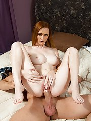 Skinny redhead model Dee Dee Lynn is sucking and swallowing the load