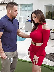 Wife in red dress Kendra Lust gives a blowjob and fucks in her pussy