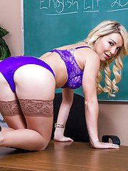 Slutty young teacher Laura Bentley is dreaming about hard cocks