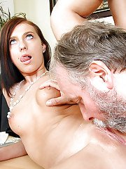 Office secretary is sucking this old mans dick and swallowing sperm