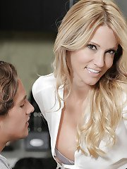 Sweet milf blonde Jessica Drake is giving a deep blowjob on cam
