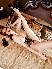 Slender redhead Chandler South shows off her absolutely ideal body!